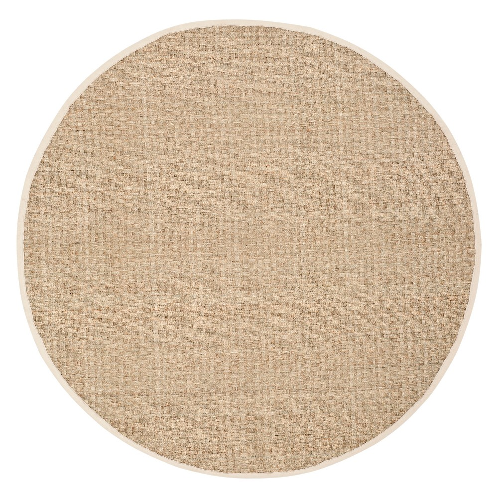9' Solid Loomed Round Area Rug Natural/Ivory - Safavieh