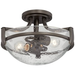 "Regency Hill Modern Ceiling Light Semi Flush Mount Fixture Oil Rubbed Bronze 13"" Wide 2-Light Clear Seedy Glass Bowl for Bedroom"