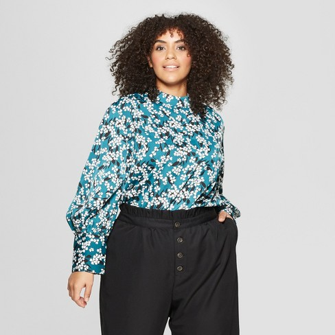 Women's Plus Size Long Sleeve Relaxed Silky Blouse - Who What Wear™ - image 1 of 3