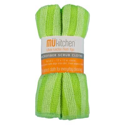 Microfiber Scrub Dish Wash Cloth Green Set of 2 - Mu Kitchen