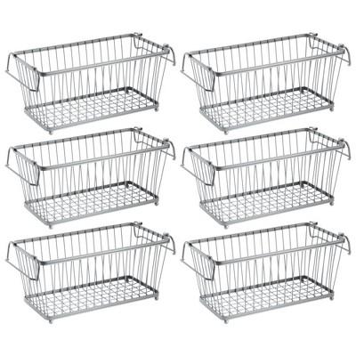 mDesign Stackable Metal Food Storage Basket with Handles, 6 Pack