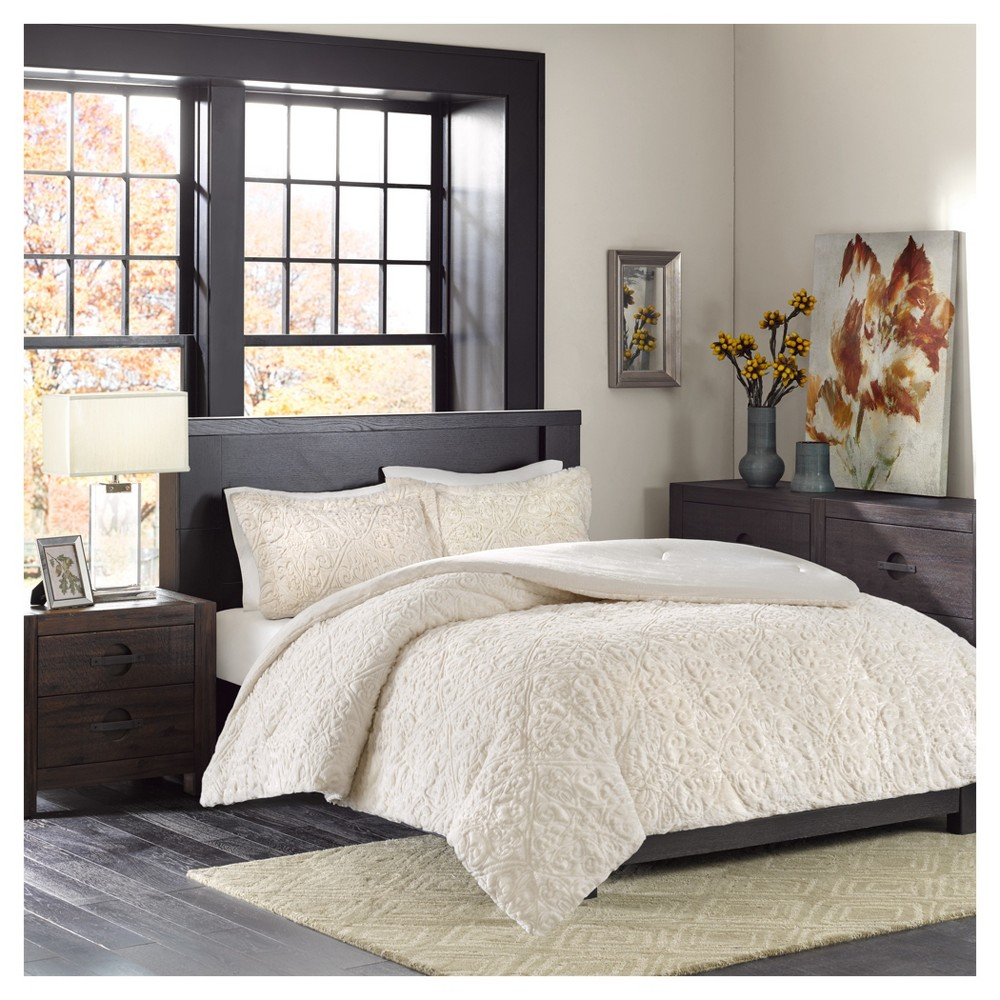 Ivory Syracuse Long Faux Fur Plush Comforter Mini Set (Full/Queen)