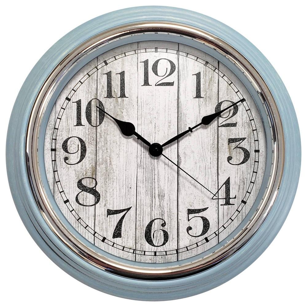 "Image of ""15"""" Farmhouse Silver Bezel Wall Clock Blue - MBZ, Gray Blue"""