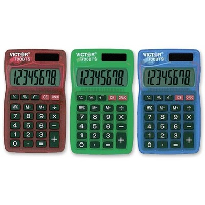 Victor Handheld Calculator 8-Digit Dual Powered Large LCD Assorted 700BTS