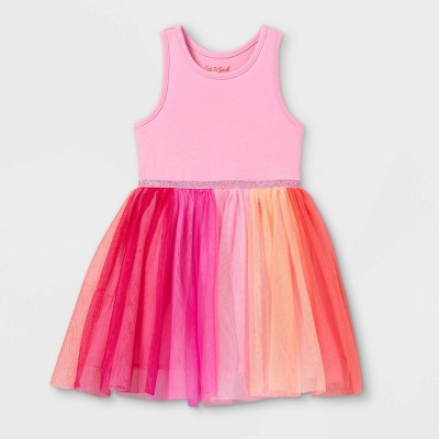 Toddler Girls' Rainbow Colorblock Tulle Tank Dress - Cat & Jack™ Pink