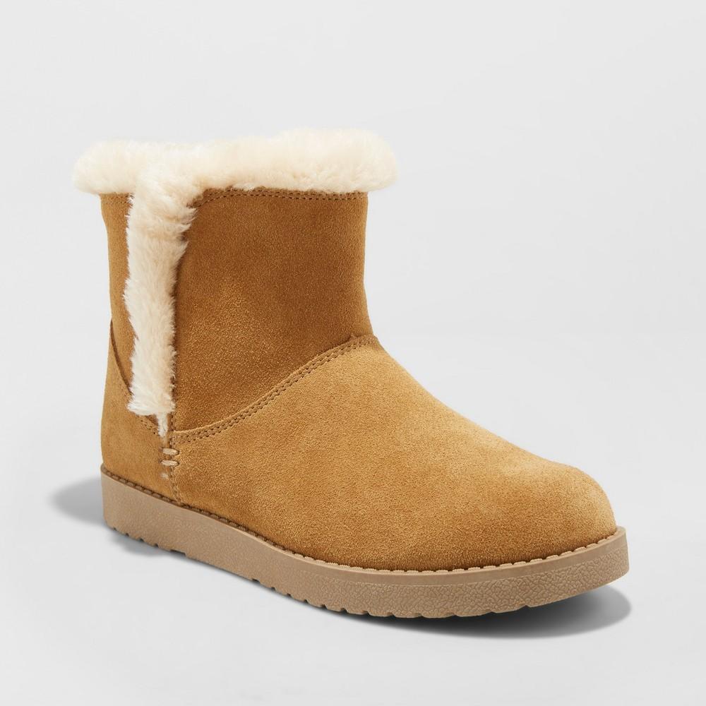 Women's Bellina Wide Width Suede Short Winter Boots - Universal Thread Tan 5W, Size: 5 Wide