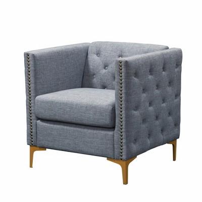 Vern Upholstered Accent Chair Light Gray - miBasics