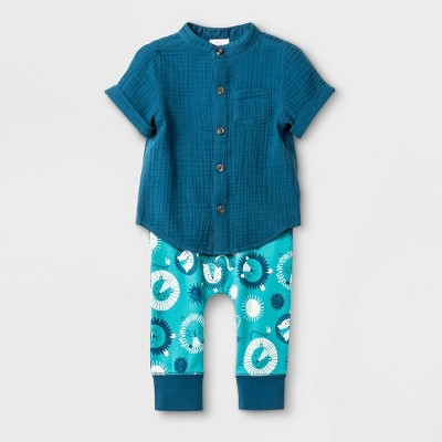 Baby Boys' Gauze Top and Bottom Set - Cat & Jack™ Blue 6-9M