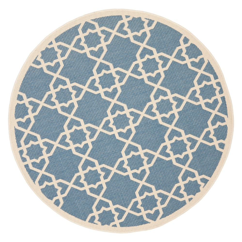 Bourges Round 5'3 Outdoor Patio Rug - Blue / Beige - Safavieh