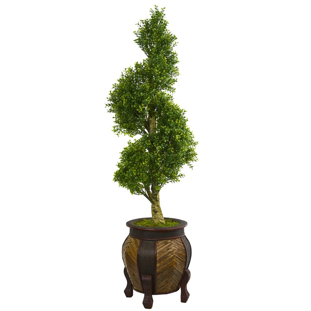 Image of 4.5ft Boxwood Spiral Topiary Artificial Tree In Decorative Planter - Nearly Natural