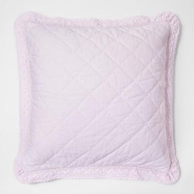 Pink Crochet Trim Linen Blend Pillow Sham (Euro)- Simply Shabby Chic®