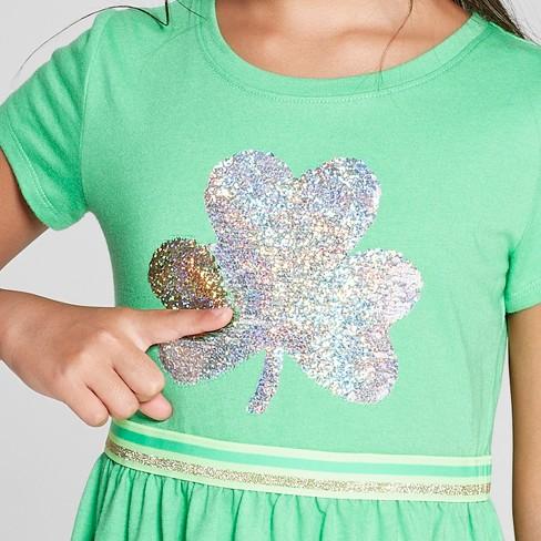 Girls  Flip Sequins Shamrock Dress - Cat   Jack™ Light Green XS   Target 55268588b
