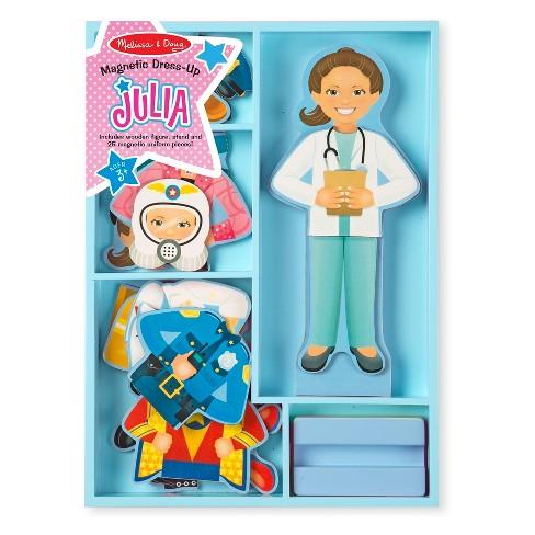 Melissa Doug Julia Magnetic Dress Up Wooden Doll Pretend Play Set 25 Pc