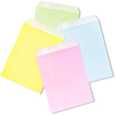 100-Pack Pastel Paper Party Favor Bags in Green, Yellow, Blue, Pink for Baby Shower, Kids Birthday Treat, Goodie & Gifts, 7 x 5.2 inches