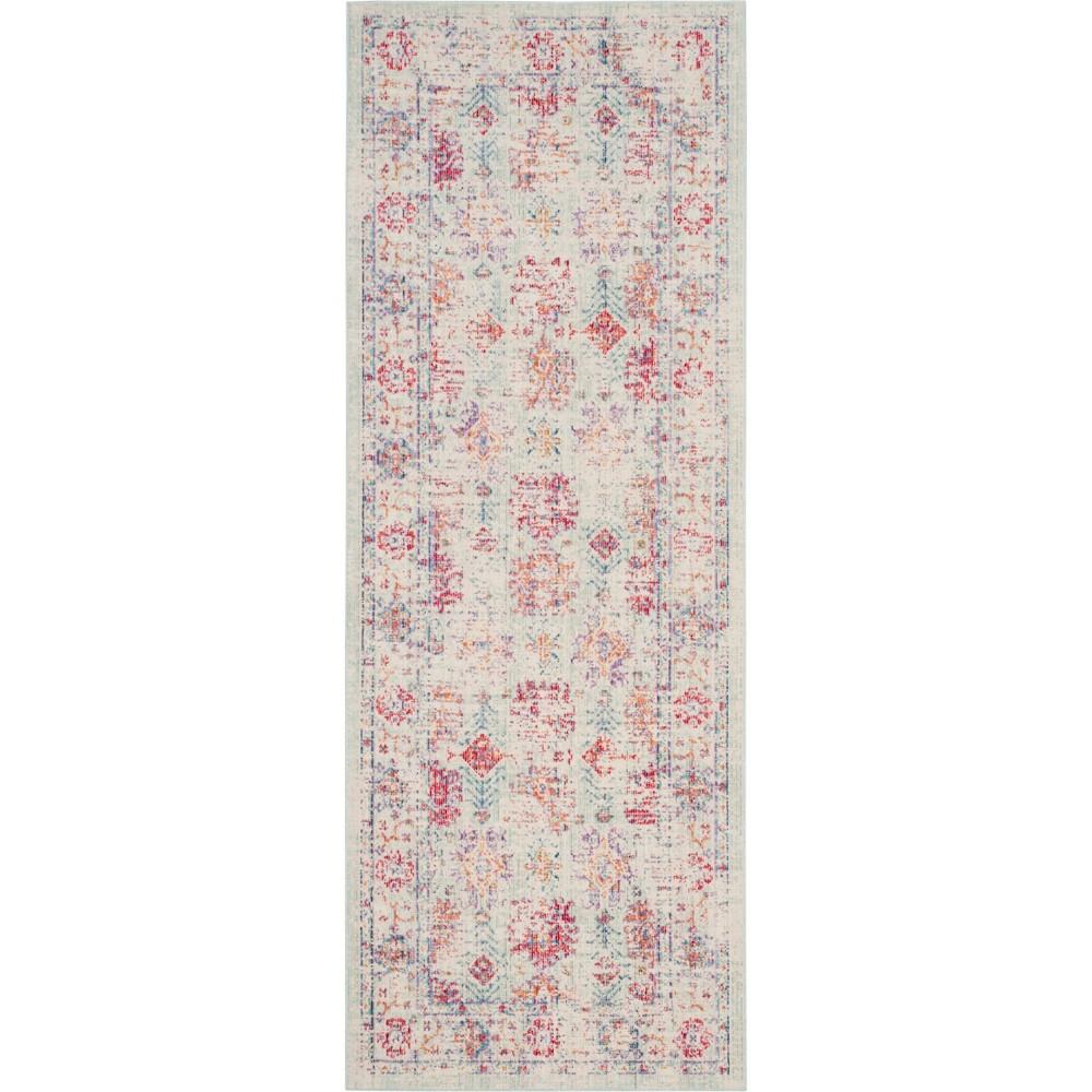 3'X8' Shapes Loomed Runner Ivory/Fuchsia (Ivory/Pink) - Safavieh