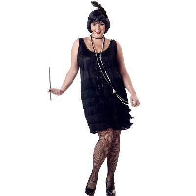 California Costumes Plus Size Fashion Flapper Costume (Black)