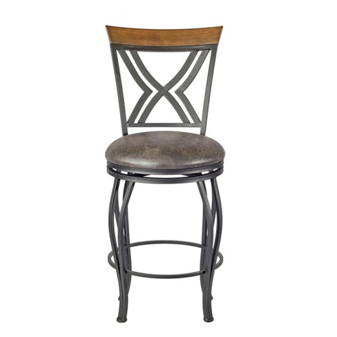 "24"" Madelyn Counter Stool Upholstered Seat - Nickel Metal - Linon - image 1 of 4"