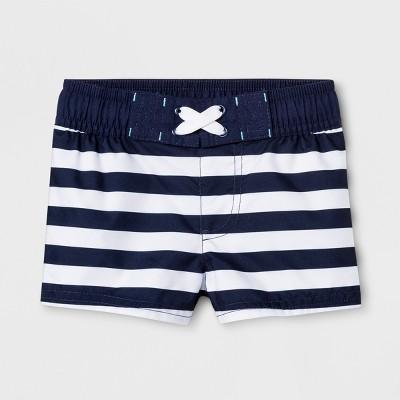 Baby Boys' Stripe Swim Trunks - Cat & Jack™ Navy 3-6M