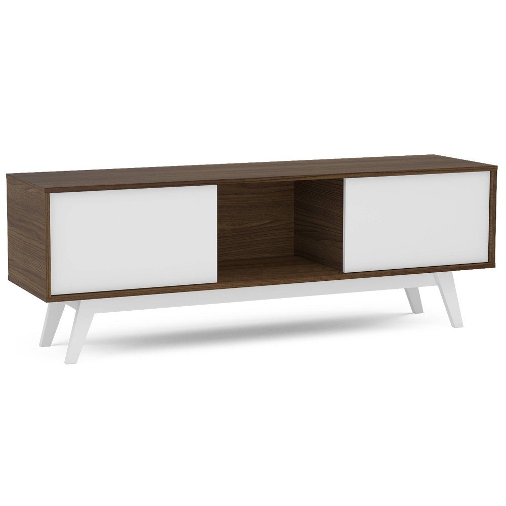 "Image of ""60"""" Burlington TV Stand Dark Brown/White - Chique"""