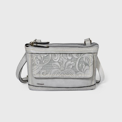 Concept Floral Print Crossbody Bag - Light Gray