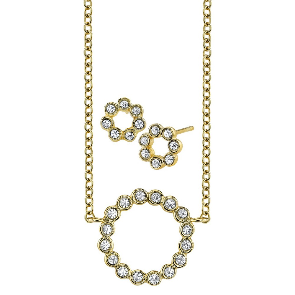 CZ Circle Ear And CZ Circle Necklace Set - Gold