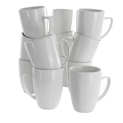 12oz 12pc Porcelain Riley Mug Set White - Elama