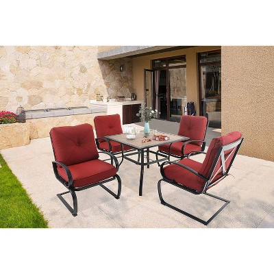 5pc Patio Dining Set with Square Faux Wood Table with Umbrella Hole & 4 Metal Spring Motion Chairs - Red - Captiva Designs