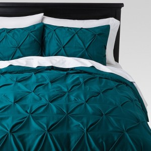 Teal Pinch Pleat Duvet Cover (King) 3pc - Threshold , Blue