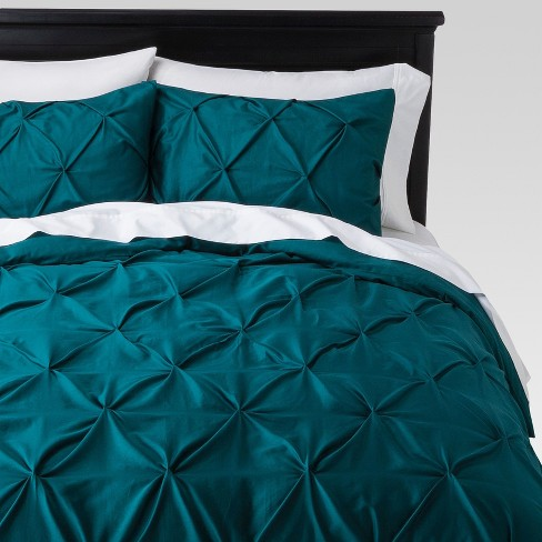 Teal Pinched Pleat Duvet Cover Set (Full/Queen) 3pc - Threshold™ - image 1 of 3