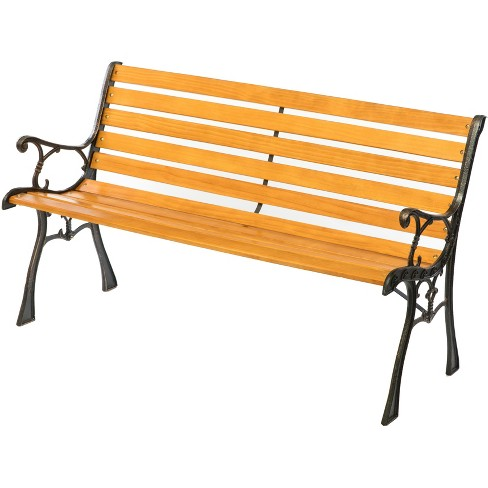 Gardenised Wooden Outdoor Park Patio Garden Yard Bench with Designed Steel Armrest and Legs - image 1 of 4