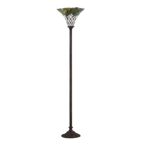 71 Botanical Tiffany Style Torchiere Led Floor Lamp Bronze Includes Energy Efficient Light Bulb Jonathan Y