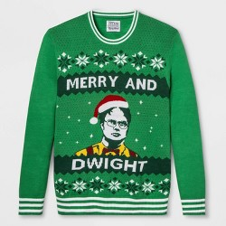 Men's The Office Merry and Dwight Christmas Pullover Sweater - Green