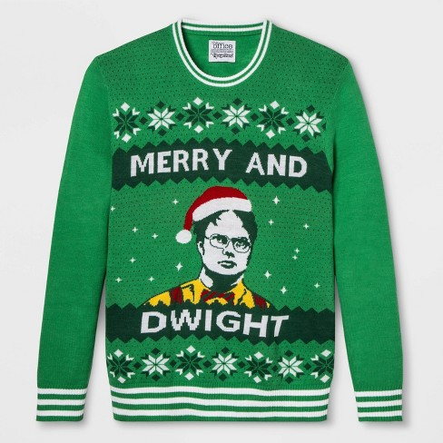 Men's The Office Merry and Dwight Christmas Graphic Pullover Sweater - Green - image 1 of 1