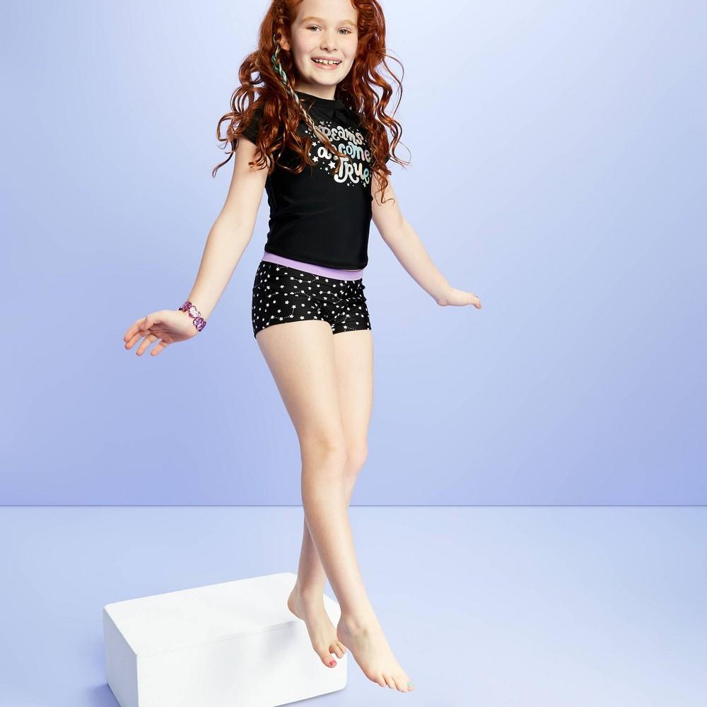 Image of Girls' Foil Rashguard Swim Shirt Separate - More Than Magic Black M Plus, Girl's, Size: Medium Plus