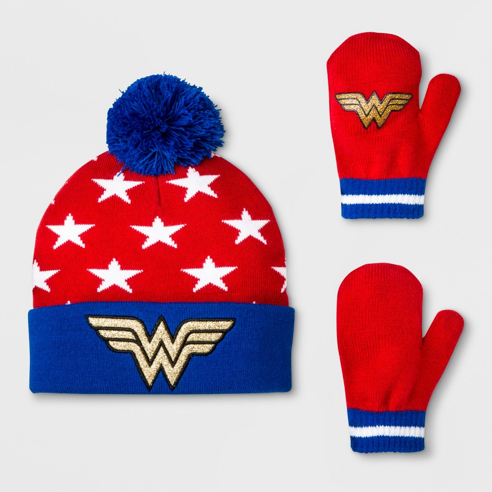 Toddler Girls' DC Comics Wonder Woman Beanie and Mitten Set - Blue One Size
