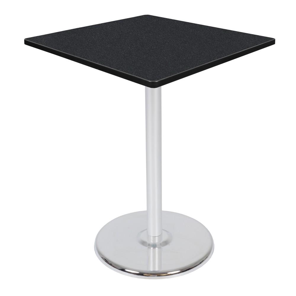 36 Via Cafe High Square Platter Base Table Carbon/Chrome (Black/Grey) - Regency