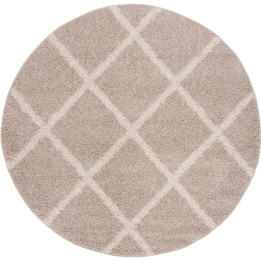 6'7 Geometric Loomed Round Area Rug Light Gray/Ivory - Safavieh