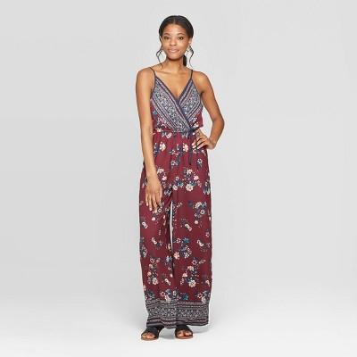 Women's Floral Print Deep V Neck Strappy Wrap Front Jumpsuit   Xhilaration Wine/Navy by Neck Strappy Wrap Front Jumpsuit