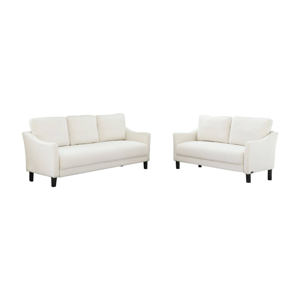 Image of 2pc Cleo Fabric Sofa & Loveseat Set -Ivory - Abbyson Living, White