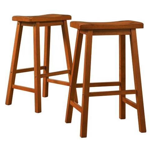 Saddle Seat Barstool Set - Oak (Set of 2) - Inspire Q - image 1 of 3
