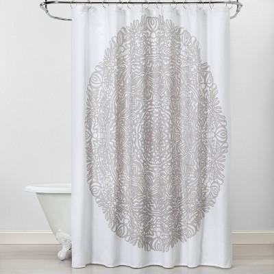 Exploded Medallion Shower Curtain Gray/White - Opalhouse™