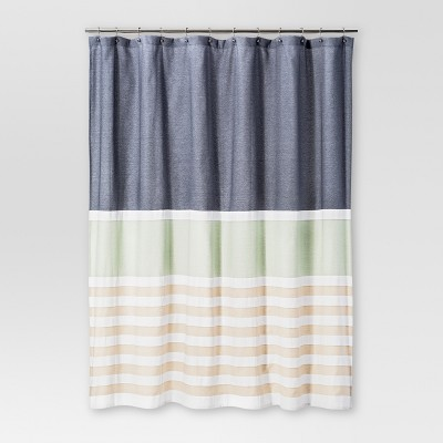 Textured Stripes Shower Curtain Indigo - Threshold™