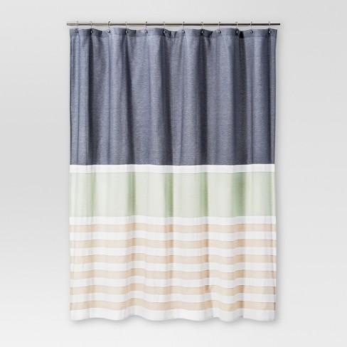 Textured Stripes Shower Curtain Indigo