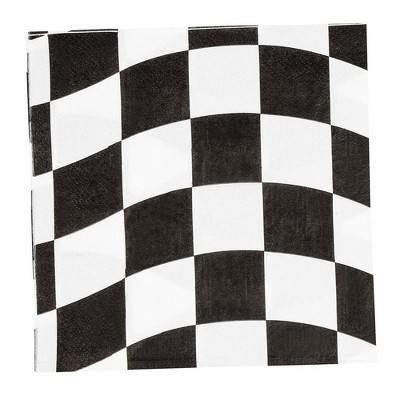 """Blue Panda 150 Pack Car Race Checkered Flag Disposable Paper Napkin Party Supplies Kid Birthday 6.5""""x6.5"""""""