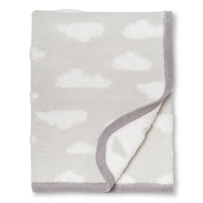 Sweater Knit Baby Blanket Clouds - Cloud Island™ Gray