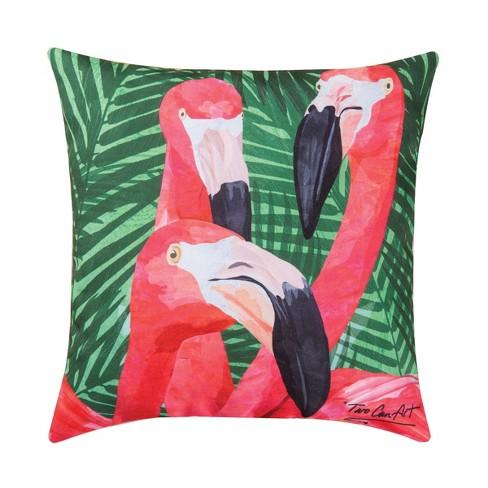 C F Home 18 X 18 Flamingos Coastal Tropical Indoor Outdoor Decorative Throw Pillow Target