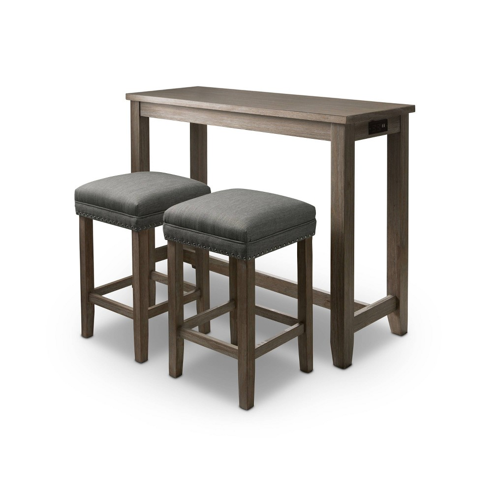 Cheap 3pc Rockland Nailhead Trim Counter Height Table Set with USB Plug Gray - HOMES: Inside + Out