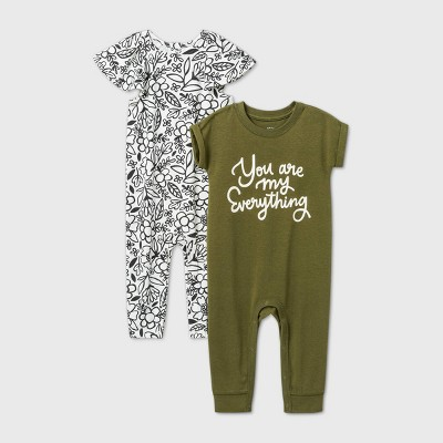 Baby Girls' 2pk 'You Are My Everything' Short Sleeve Romper - Cat & Jack™ Green Newborn