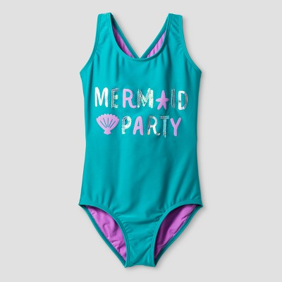 Girls' Mermaid Party One Piece Swimsuit - Cat & Jack™ Turquoise M