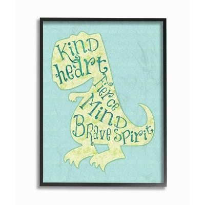 Kind Heart Dinosaur Silhouette Framed Giclee Texturized Art (11 x14 x1.5 )- Stupell Industries
